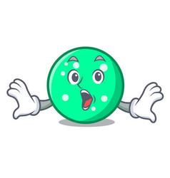 Surprised circle mascot cartoon style vector