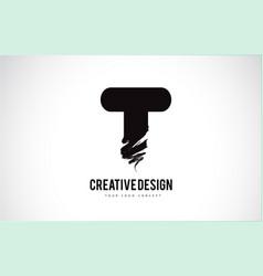 T letter logo design brush paint stroke artistic vector