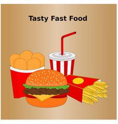 Tasty fast food menu icon vector