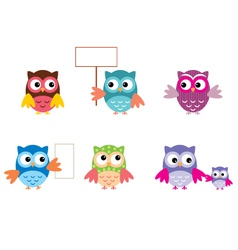 The Drawn Owls Different Types vector