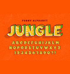 trendy comical jungle alphabet design colorful vector image