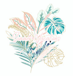 Tropical with palm leaves summer vector