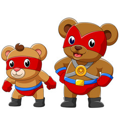 two bear in a superhero costume vector image