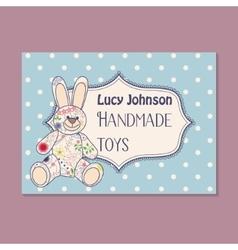 Vintage business card for handmade toys maker vector