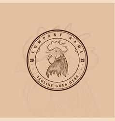 vintage retro cock rooster farm label logo design vector image