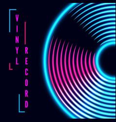 Vinyl music record in retro neon colors vintage vector