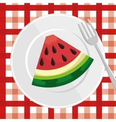 Watermelon slice over plate with fork and vector