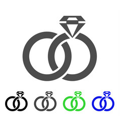 wedding rings with gem flat icon vector image