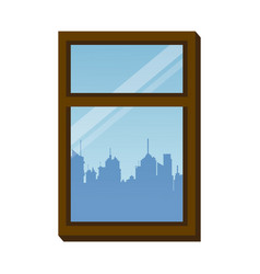 Window frame city urban buiding view vector