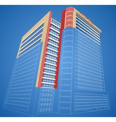 Wireframe dimensional shopping mall building vector image