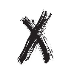 x mark grunge textured hand drawn vector image