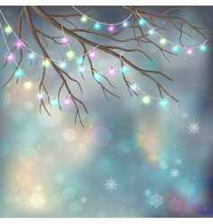Christmas light bulbs on xmas night background vector