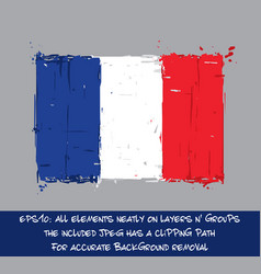 french flag flat - artistic brush strokes and vector image vector image