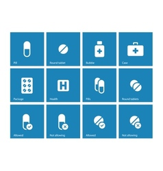 Pills and capsules icons on blue background vector image vector image