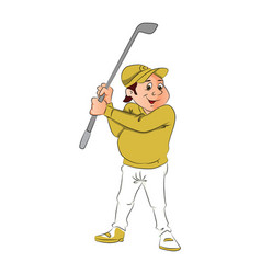 portrait of male golfer holding a club vector image vector image