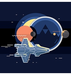 Spacecraft spaceship in space planet and sputnik vector image