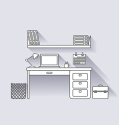 workplace linear with shadows vector image