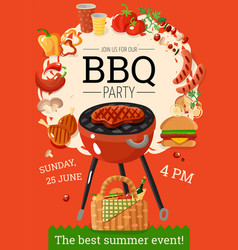 Bbq barbecue party announcement poster vector