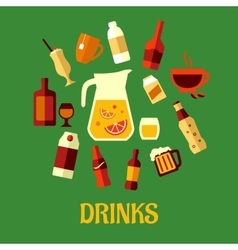 Flat assorted beverages and drinks vector image vector image