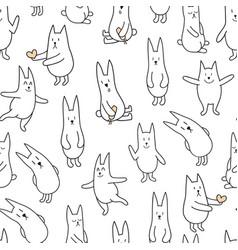 monochrome rabbits vector image vector image