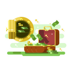 suitcase and safe with money and golden coins vector image