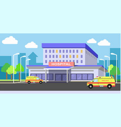 urban hospital building exterior with ambulances vector image vector image