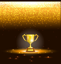 Winner Cup With Spark Rain vector image