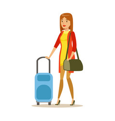 young woman traveling with suitcase colorful vector image vector image