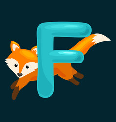 Animals alphabet for kids fish letter f cartoon vector