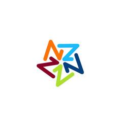 circle letter z color logo vector image