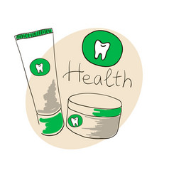 doodle image toothpaste tooth powder doodle vector image