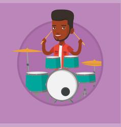 Man playing on drum kit vector
