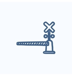 Railway barrier sketch icon vector image vector image