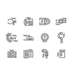 Simple black line metrology tools icons set vector image