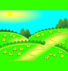 cute yellow rabbits in burrows sitting vector image vector image