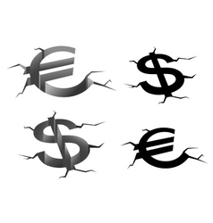 Dollar and euro cracked symbols vector image