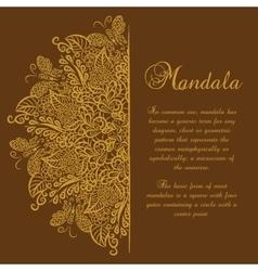 mandala Brown background Gold ornament vector image vector image