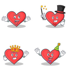 Set of heart character with crazy magician king vector