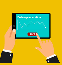 tablet with stock exchange graphic vector image vector image