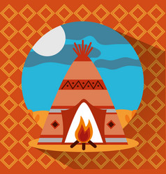 teepee native american with bonfire landscape vector image