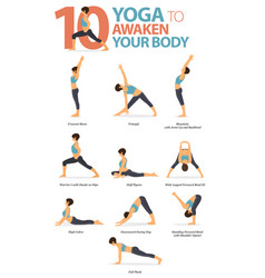 10 yoga poses to awaken body vector