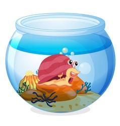 A snail inside an aquarium vector
