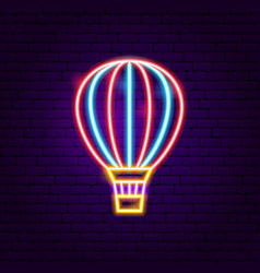 air balloon neon label vector image