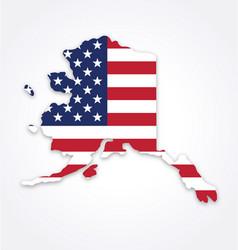 Alaska ak map shape with usa flag vector