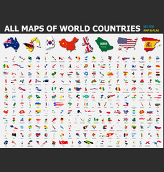 all maps world countries and flags vector image
