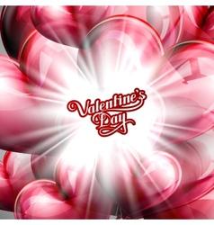 Balloon hearts background with shiny burst vector