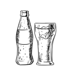 Bottle of soda and filled glass with ice vector