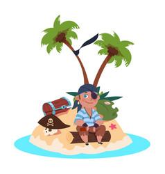 boy pirate sits on treasure island - cartoon vector image