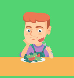 Boy refusing to eat salad with healthy vegetables vector
