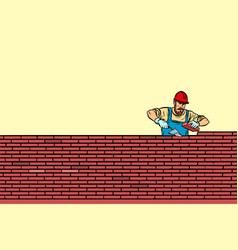 Builder lays brick masonry in the middle vector